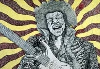 Jimi Hendrix ink stiple